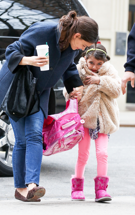 Katie Holmes takes daughter Suri Cruise for tennis lessons in New York City, USA. Pictured: Katie Holmes and Suri Cruise Ref: SPL509039  110313   Picture by: Dave Spencer / Splash News Splash News and Pictures Los Angeles:310-821-2666 New York:212-619-2666 London:870-934-2666 photodesk@splashnews.com