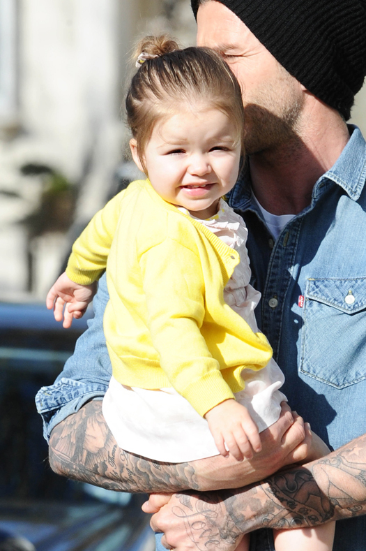 David Beckham and Harper pictured out and about in Notting Hill.  Pictured: David Beckham and Harper Seven Beckham Ref: SPL531109  240413   Picture by: Splash News Splash News and Pictures Los Angeles:310-821-2666 New York:212-619-2666 London:870-934-2666 photodesk@splashnews.com