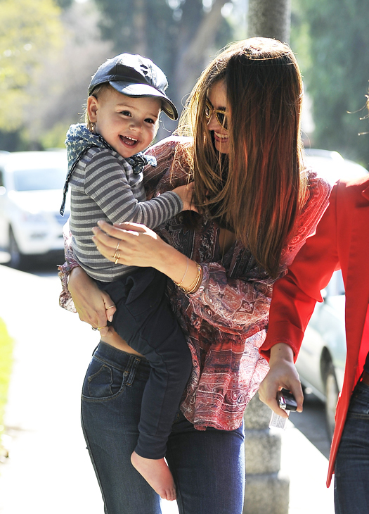 Miranda Kerr takes her son Flynn Bloom to a park in Beverly Hills. Flynn bursts into a fit of laughter as they head back to their car. Pictured: Miranda Kerr and Flynn Bloom Ref: SPL494649  170213   Picture by: Fern / Splash News Splash News and Pictures Los Angeles:310-821-2666 New York:212-619-2666 London:870-934-2666 photodesk@splashnews.com
