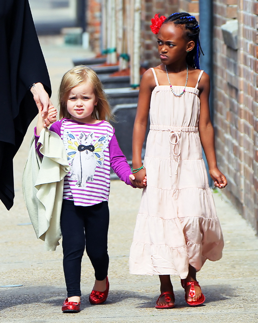 Vivienne Jolie-Pitt and big sister Zahara walk the streets of New Orleans together hand-in-hand. Pictured: Vivienne Jolie-Pitt and Zahara Jolie-Pitt Ref: SPL370360  120312   Picture by: Jackson Lee / Splash News Splash News and Pictures Los Angeles:310-821-2666 New York:212-619-2666 London:870-934-2666 photodesk@splashnews.com