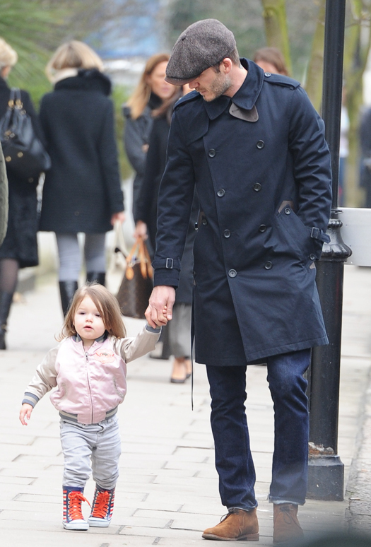 David Beckham seen out for a walk in Kensington with his daughter, Harper. Pictured: David and daughter, Harper Beckham Ref: SPL511753  180313   Picture by: Neil Warner / Splash News Splash News and Pictures Los Angeles:310-821-2666 New York:212-619-2666 London:870-934-2666 photodesk@splashnews.com