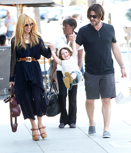 Rachel Zoe and Skyler leave lunch at Le Pain. Pictured: Rachel Zoe, Skyler Berman and Rodger Berman Ref: SPL537000  030513   Picture by: All Access Photo / Splash News Splash News and Pictures Los Angeles:310-821-2666 New York:212-619-2666 London:870-934-2666 photodesk@splashnews.com