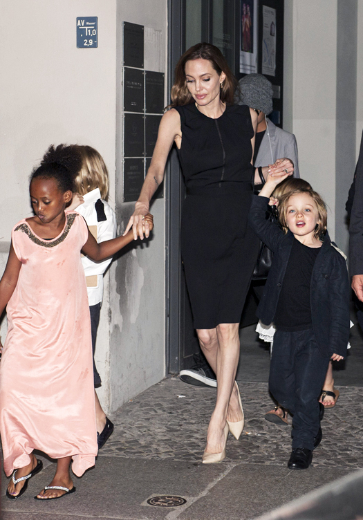 Angelina Jolie celebrates her birthday with the whole family in Berlin.  Pictured: Brad Pitt, Shiloh Jolie-Pitt, Zahara Jolie-Pitt, Knox Leon Jolie-Pitt and Angelina Jolie Ref: SPL551194  040613   Picture by: Karadshow / Splash News Splash News and Pictures Los Angeles:310-821-2666 New York:212-619-2666 London:870-934-2666 photodesk@splashnews.com