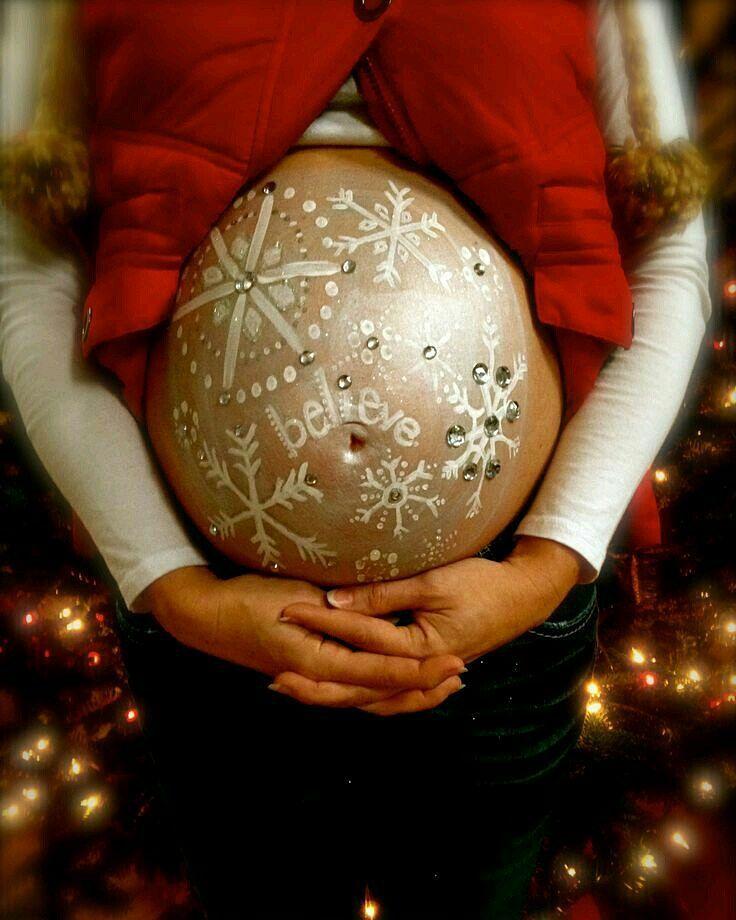 Беременный боди-арт: 7 животиков, украшенных к Рождеству и Новому году