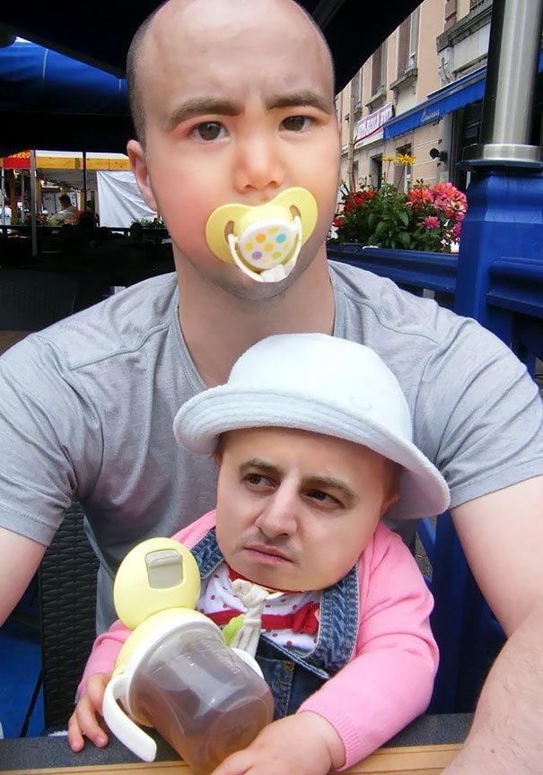 Что будет, если поменяться с ребенком лицом: 20 смешных фото