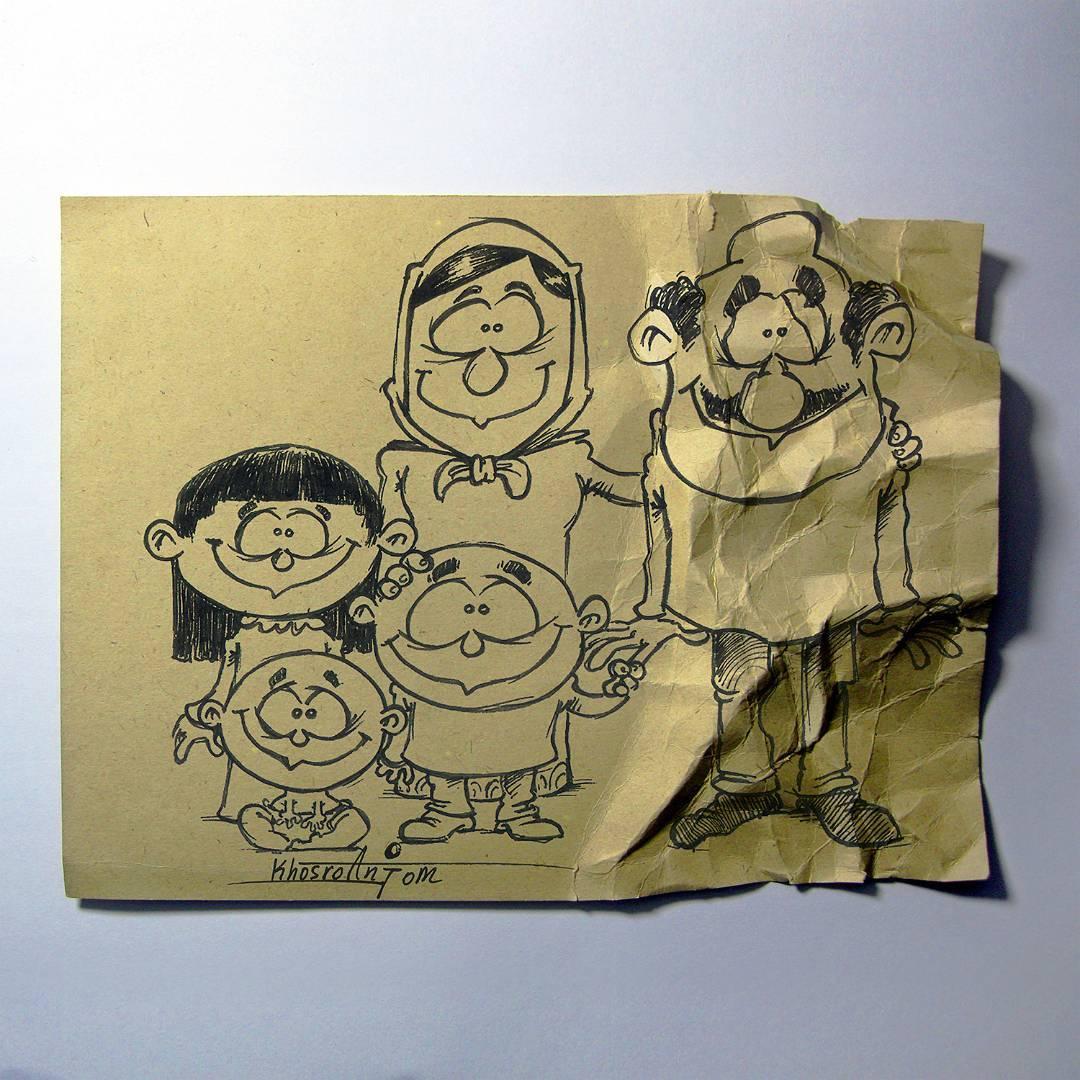 Иранский художник показал всю суть жизни родителей и детей — с помощью карандаша и пары предметов