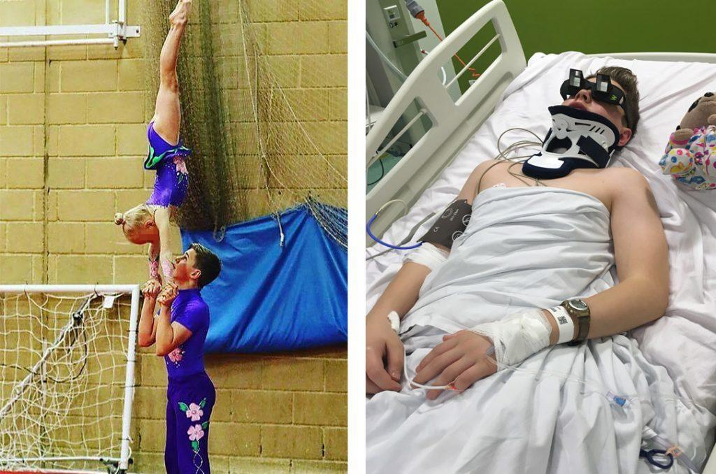 Юный гимнаст сломал шею во время трюка. Через 4 дня — он уже был на ногах!