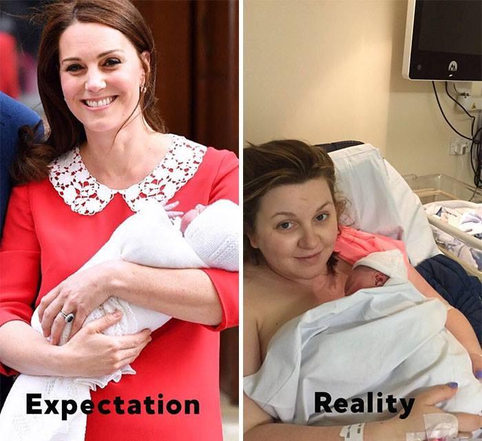 После безупречного выхода Кейт Миддлтон, мамы делятся своими фото из роддома. Что-то не сходится!