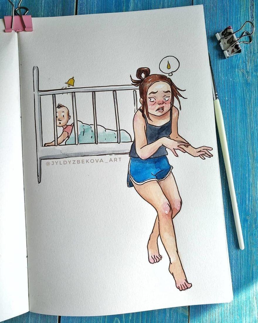 Художница из Киргизии показала, на что похожи ее родительские будни (9 картинок)