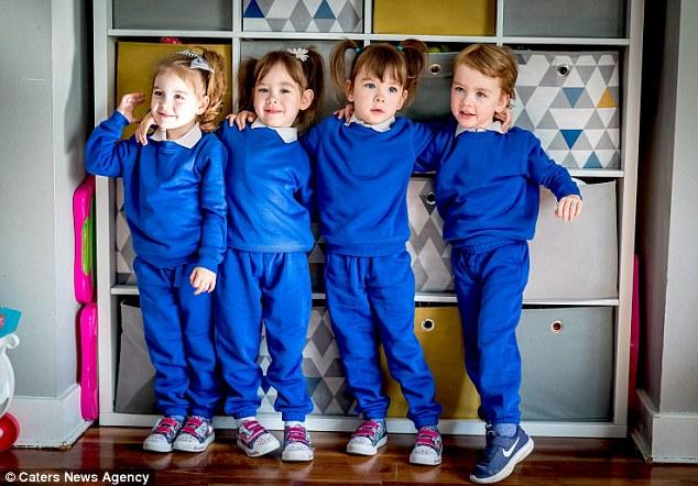 Четверняшки, зачатые без ЭКО, уже пошли в школу — вопреки всем прогнозам